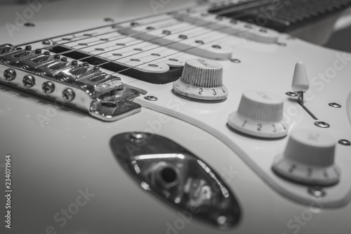Photo  Black white solo electric lead guitar, rock music