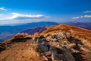 Landscape of autumnal peaks of the Carpathians.