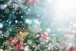 Christmas decorations on boken light background