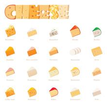 Vector Cheese Types Icon Set