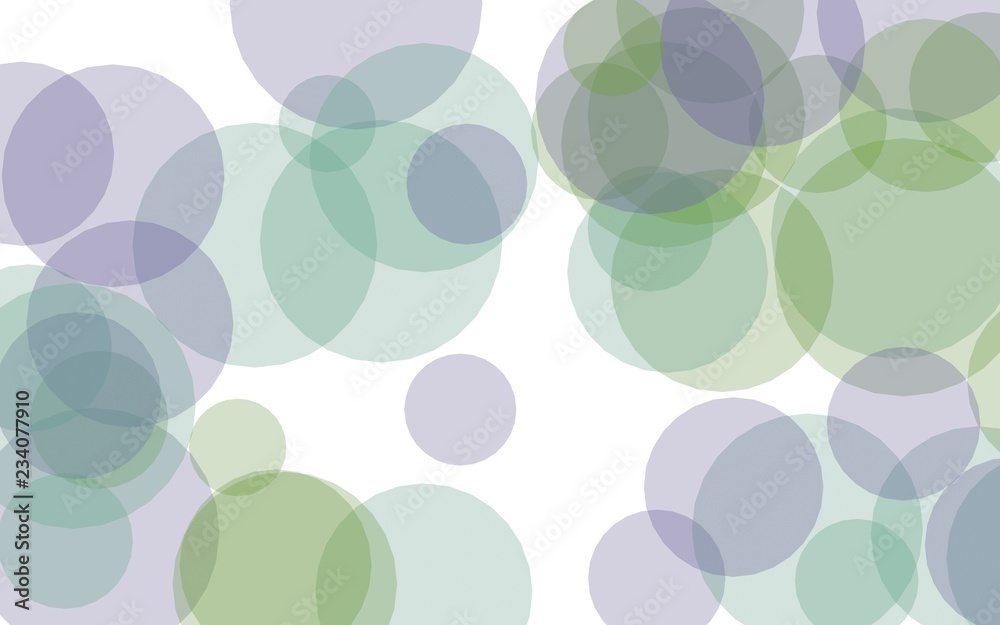 Multicolored translucent circles on a white background.