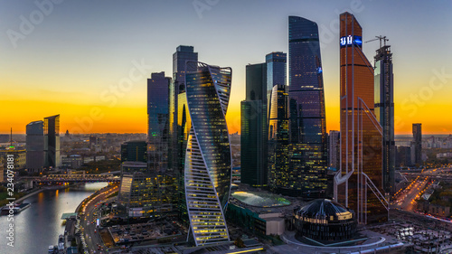 Valokuva  Aerial view sunset over Moscow City district and Moscow river, Moscow Russia