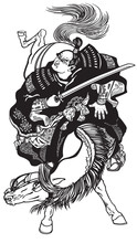 Japanese Samurai Horseman Riding A Pony Horse And Holding A Sword . Medieval Asian Warrior On A Horseback. Black And White Tattoo Style Vector Illustration