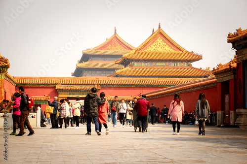 Photo Stands Beijing Part of The Forbidden City in Beijing, China. The Forbidden City was declared a World Heritage Site in 1987 and is listed by UNESCO. Beijing, China, 03,18,2018