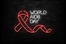 Vector Realistic Isolated Neon Sign Of World Aids Day Logo For Template Decoration And Layout Covering On The Wall Background.