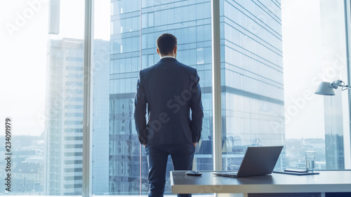 Fotografie, Tablou Back View of the Thoughtful Businessman wearing a Suit Standing in His Office, Hands in Pockets and Contemplating Next Big Business Deal, Looking out of the Window