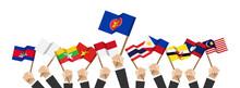 ASEAN And Membership Flags . B...