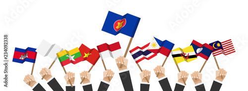 Foto  ASEAN and membership flags