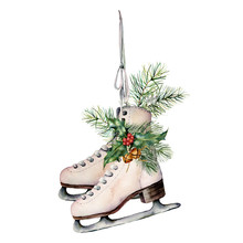 Watercolor Vintage Skates With...