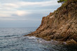 Cliffs of Cala de Sant Francesc, the coastline of the Bay of Blanes, Costa Brava, Spain, Catalonia