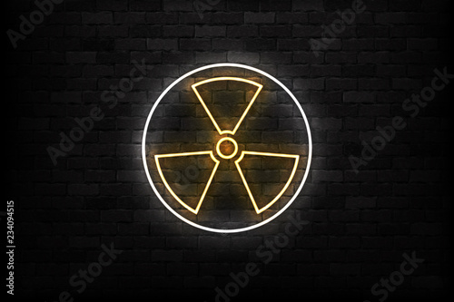 Vector realistic isolated neon sign of Radioactive logo for template decoration and layout covering on the wall background Fototapeta