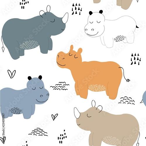 Fototapeta Hippopotamus seamless pattern