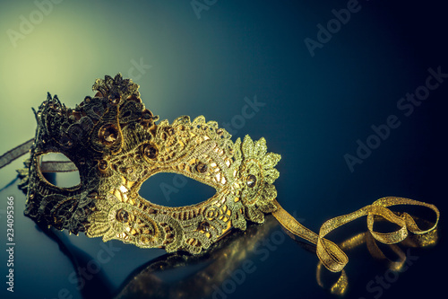 carnival mask on a glossy background