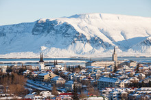 Reykjavik City View Of Hallgrimskirkja From Perlan Dome, Iceland