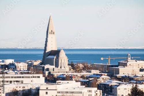 Foto op Aluminium Arctica Reykjavik city view of Hallgrimskirkja from Perlan Dome, Iceland