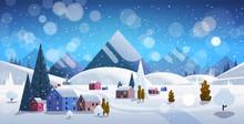 Winter Village Houses Mountains Hills Landscape Snowfall Background Horizontal Flat Vector Illustration