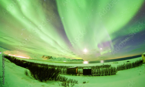 Fényképezés Aurora Borealis or better known as The Northern Lights for background view in Ic