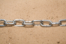 Chain On Sand Background