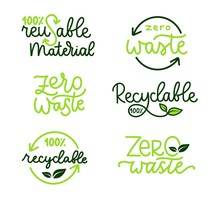 Recycling Labels Set. Hand Drawn Vector Set.