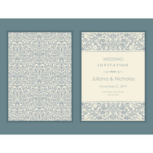 """Wedding  Invitation  With Baroque Pattern. Size: 5"""" X 7"""". Beautiful Victorian Ornament. Frame With Floral Elements.  The Front And Back Side. Add Photos And Text To Both Sides Of This Flat Card."""