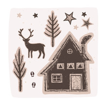 Winter Rustic Forest Vector Collection Elements Set. Reindeer, Cozy Cabin, Pine Tree, Sky, Smoke. Lino Cut Block Print Style For Boho Christmas Home Decor, Nordic Outdoor Camping Packaging. Brown Ecru