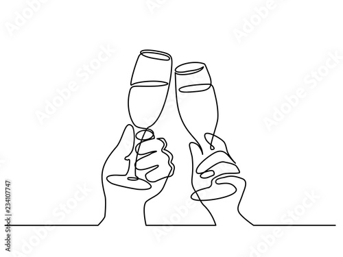 Obraz na plátně Two Hands cheering with glasses of champagne