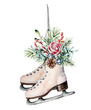 Watercolor Vintage Skates With Winter Floral Decor And Candies. Hand Painted White Skates With Fir Branches, Berries, Holly And Fir Cone Isolated On White Background. Christmas Symbol For Design.