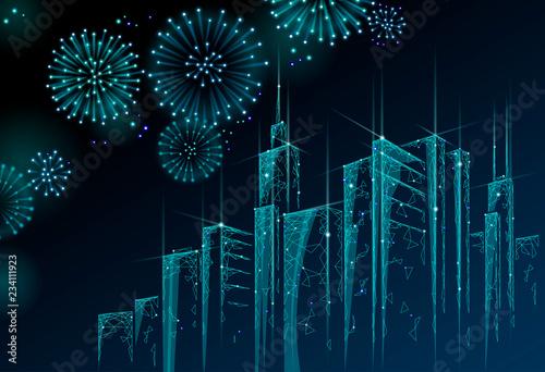 Modern Skyser Holiday Christmas Cityscape New Year Polygonal Point Line Dark Blue Night Sky