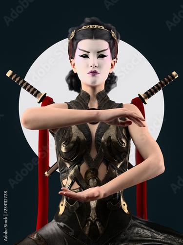 kabuki make up geisha character -  3d rendering Canvas Print