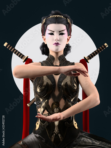 kabuki make up geisha character -  3d rendering Fototapeta