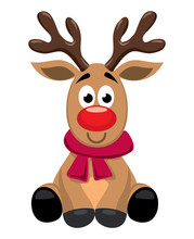 Vector Cute Cartoon Of Red Nosed Reindeer Toy, Rudolph