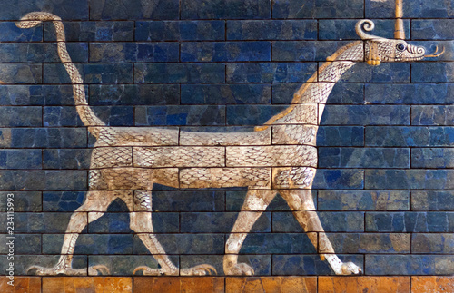 Ancient bas-relief with Sirrush from the Babylonian Ischtar Tor in Istanbul, Turkey