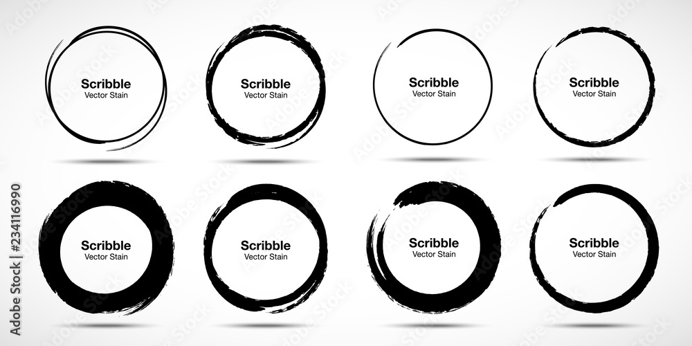 Fototapeta Hand drawn circle brush sketch set. Grunge doodle scribble round circles for message note mark design element. Brush circular smears. Banners, Insignias , Logos, Icons, Labels and Badges. Vector