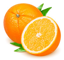Isolated Orange. Whole And Cut Orange Fruit With Leaves Isolated On White Background With Clipping Path