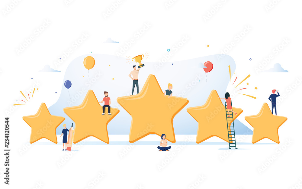 Fototapeta Flat isometric vector concept of five stars, best rating, customer feedback, positive review. Winner award First place