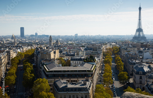 Photo Stands Paris Aerial view of Paris with Eiffel Tower