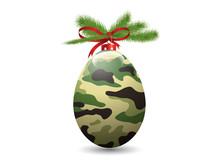 Camouflage Eggs Christmas Ball.Vector