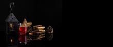Glühwein Im Glas Mit Lebkuchen Und Dekoration