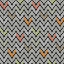 Seamless Vector Ornamental Pattern In Gray Colors With Bright Spots. Knitting Imitation.