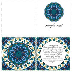 Invitation or Card template with floral mandala pattern. The front and rear side. Vector illustration