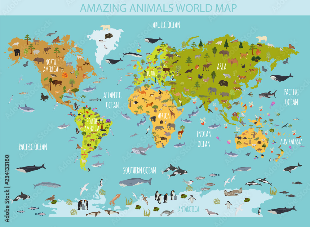 Fototapeta Flat world flora and fauna map constructor elements. Animals, birds and sea life isolated big set. Build your own geography infographics collection.