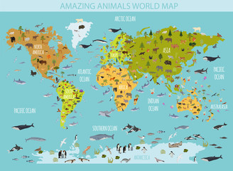 Flat world flora and fauna map constructor elements. Animals, birds and sea life isolated big set. Build your own geography infographics collection.