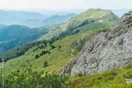 Beautiful mountain view from the hills on the path to the Eho hut. The Troyan Balkan is exceptionally picturesque and offers a combination of wonderful mountain scenery, fresh air.