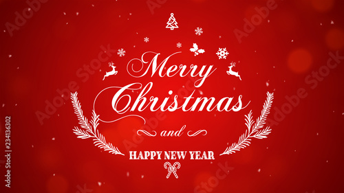 Fotografie, Obraz  Merry Christmas and Happy New Year on red background