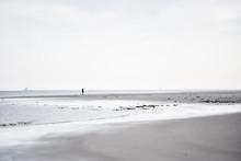 Winter Beach Walk At The North Sea