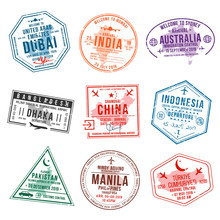 Set Of Travel Visa Stamps For ...