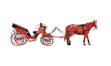 Stylized Red Horse And Phaeton Isolated On A White Background. To Harness. Equine Crew For Walks.Tourist Horse Chariot, Waiting Outdoors. Carriage On The Road, Art
