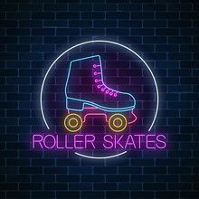 Retro Roller Skates Glowing Neon Sign In Circle Frame On Dark Brick Wall Background. Skate Zone Symbol In Neon Style.