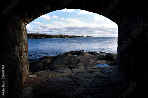 Foto op Aluminium Cathedral Cove View over the Gulf of Finland from loophole on the island of Suomenlinna