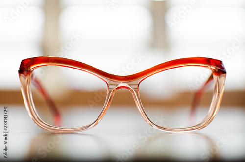 Fotografie, Obraz Plastic eyeglasses on white background